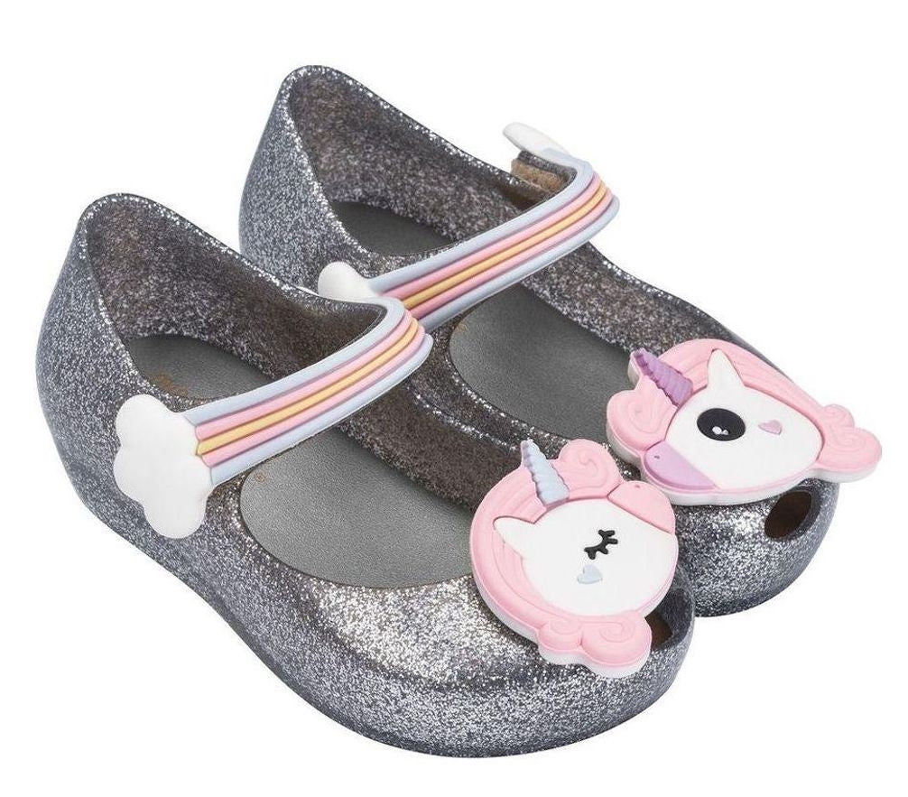 Mini Melissa Ultra Fly Girl Unicorn Silver