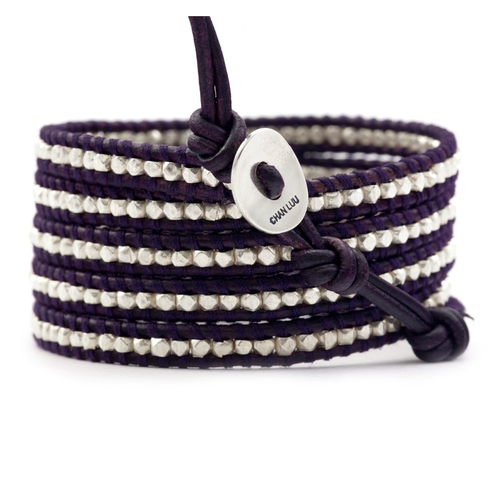 Chan Luu 5 Silver Wrap Bracelet  on Black