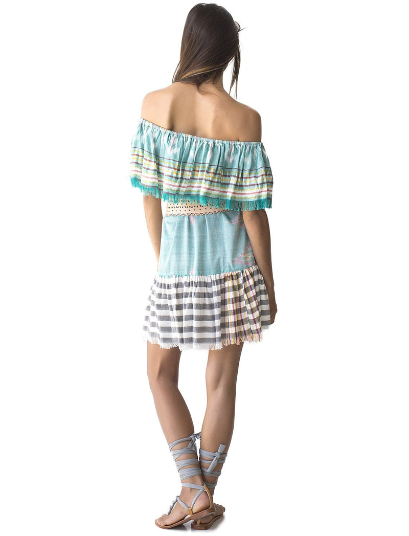 Erika Pena Rita Dress in Aqua Ikat