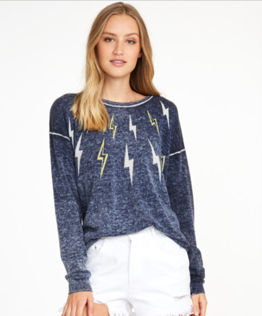 Autumn Cashmere Inked Lightening Bolt Sweater | 4sisters1closet