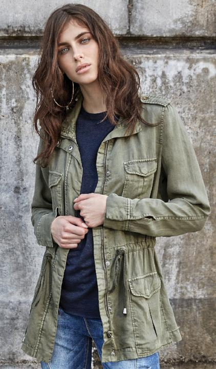 SEN Noble Jacket with Button Up Front in Olive https://4sisters1closet.com/products/sen-noble-jacket-with-button-up-front-in-olive SEN Noble jacket with button and zip up front with draw string waist in olive.