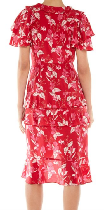 Talulah Pollen Midi Dress Red Leaf Print | 4sisters1closet