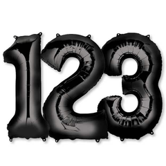 Large Numbers - Black Foil Mylar Balloons