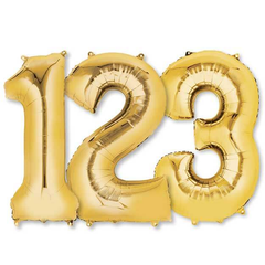 Large Numbers - Gold Foil Mylar Balloons