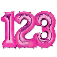 Large Numbers - Magenta & Pink Foil Mylar Balloons