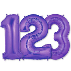 Large Numbers - Purple Foil Mylar Balloons