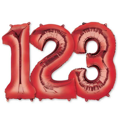 Large Numbers - Red Foil Mylar Balloons