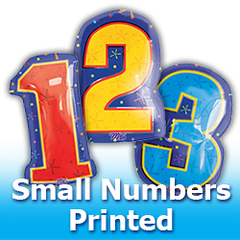 Small Numbers - Printed Foil Mylar Balloons