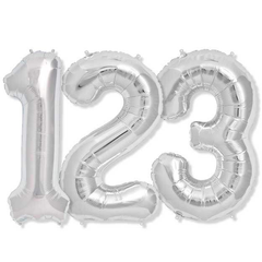 Large Numbers - Silver Foil Mylar Balloons