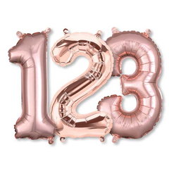 Small Numbers - Rose Gold Foil Mylar Balloons