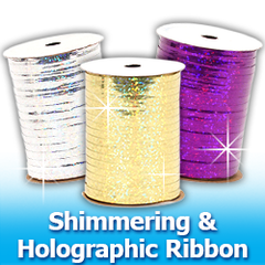 Shimmering and Holographic Curling Ribbon