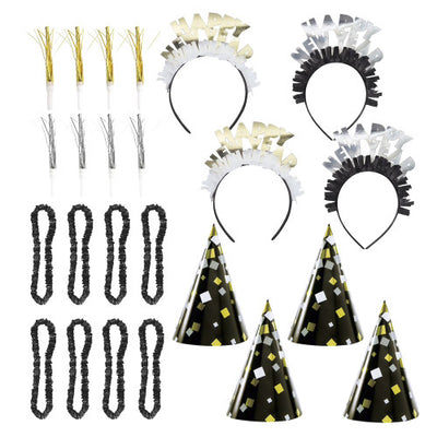 NEW YEAR'S EVE FOIL GOLD & SILVER PARTY KIT FOR 8