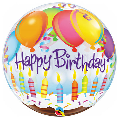 22″ BUBBLE - BIRTHDAY BALLOONS & CANDLES