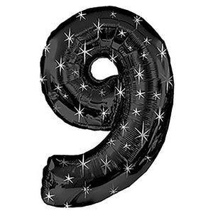 38″ NUMBER 9 - BLACK SPARKLE