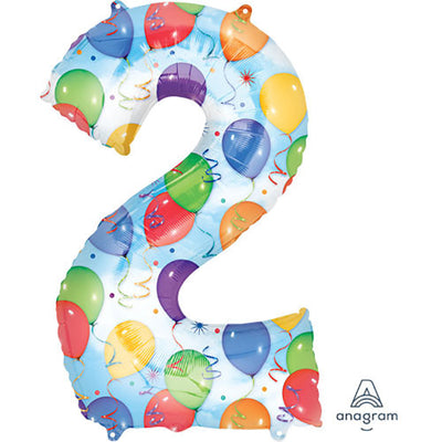 34″ NUMBER 2 - ANAGRAM - BALLOONS & STREAMERS