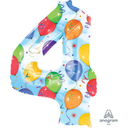 34″ NUMBER 4 - ANAGRAM - BALLOONS & STREAMERS