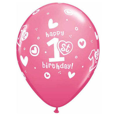 11″ 1ST BIRTHDAY CIRCLE HEARTS - GIRL