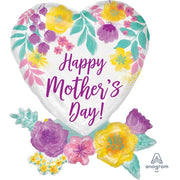 30″ HAPPY MOTHER'S DAY WATERCOLOR FLOWERS