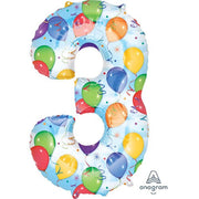 34″ NUMBER 3 - ANAGRAM - BALLOONS & STREAMERS