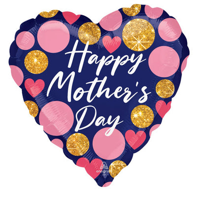 28″ HAPPY MOTHER'S DAY NAVY & GLITTER DOTS