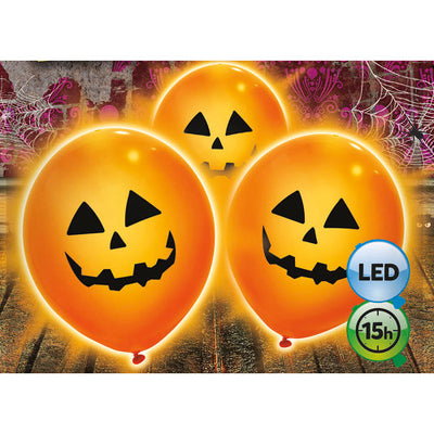 9″ PUMPKIN LED LIGHT UP BALLOON (3 PK)