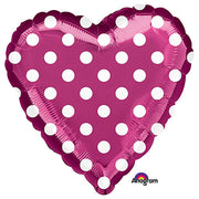 18″ HEART - FUCHSIA AND POLKA DOTS
