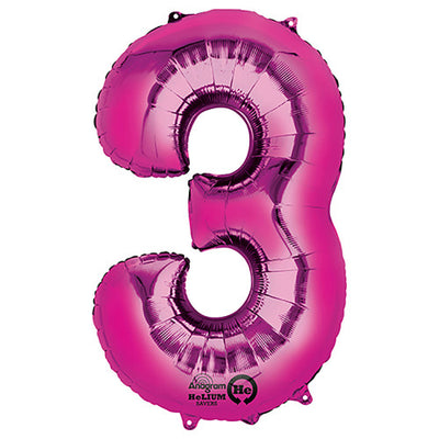 34″ NUMBER 3 - ANAGRAM - PINK