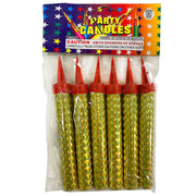 CAKE SPARKLER PARTY CANDLES - GOLD (6 PK)