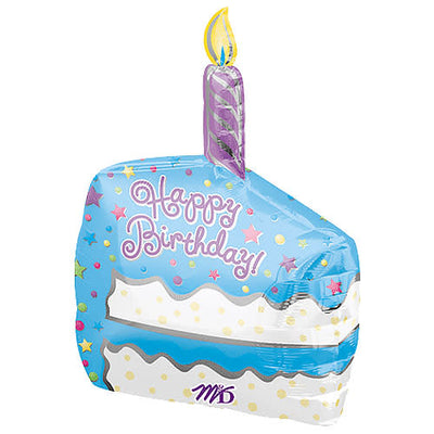 22″ HAPPY BIRTHDAY 3-D CAKE SLICE WITH CANDLE