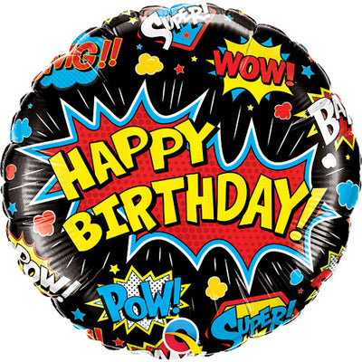 18″ BIRTHDAY SUPER HERO BLACK