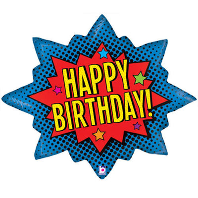 32″ SUPER HERO BURST - HAPPY BIRTHDAY