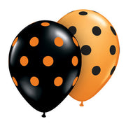 11″ BIG POLKA DOTS - ORANGE & BLACK