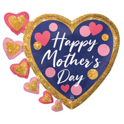 24″ HAPPY MOTHER'S DAY NAVY, PINK & GLITTER DOTS