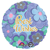 18″ BEST WISHES BLUE FLORAL