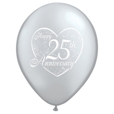 11″ HAPPY 25TH ANNIVERSARY HEART - SILVER