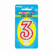NUMBER 3 DELUXE SHAPE BIRTHDAY CANDLE