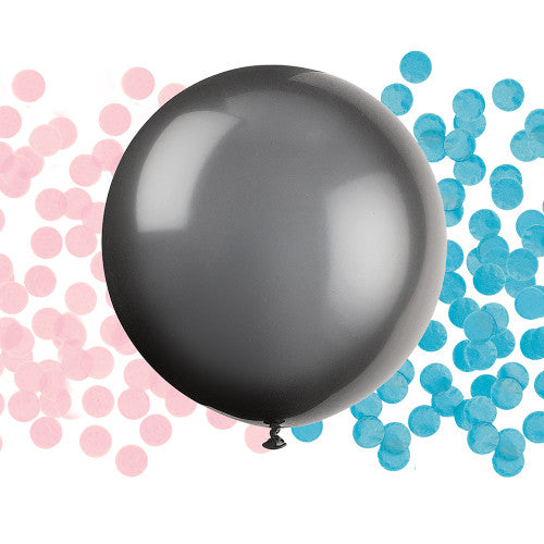 24″ BLACK BALLOON WITH PINK & BLUE CONFETTI
