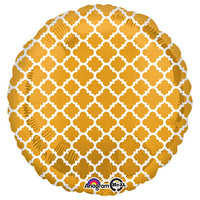 18″ CIRCLE - QUATREFOIL GOLD AND WHITE
