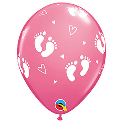 11″ BABY FOOTPRINTS & HEARTS - ROSE