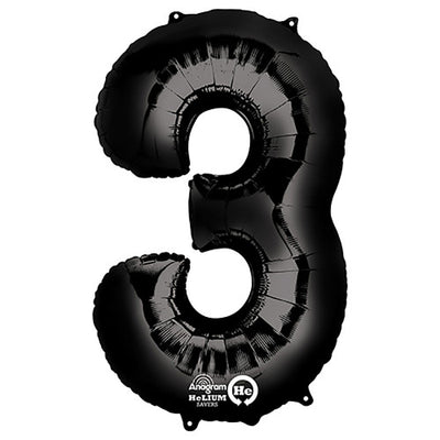 34″ NUMBER 3 - ANAGRAM - BLACK