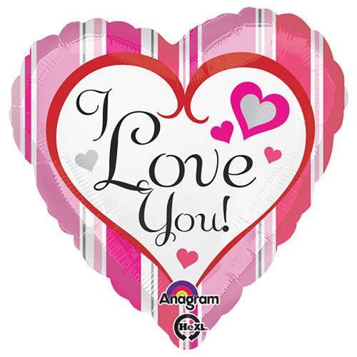 18″ PINK STRIPES LOVE YOU