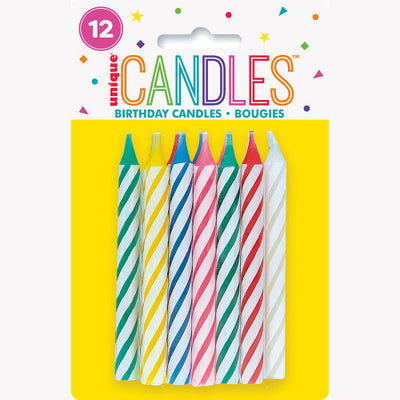 SPIRAL BIRTHDAY CANDLES (12 PK)