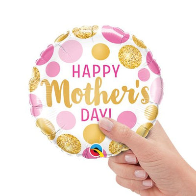 9″ MINI MOTHER'S DAY PINK & GOLD DOTS (AIR-FILL ONLY)
