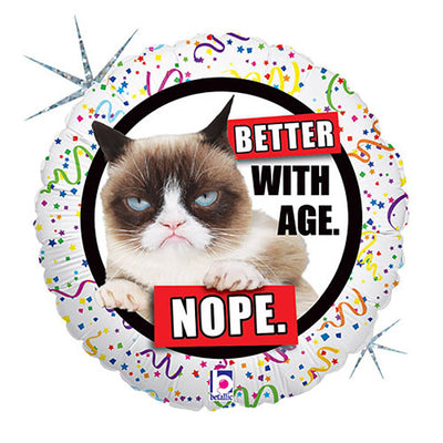 18″ GRUMPY CAT BETTER WITH AGE - NOPE
