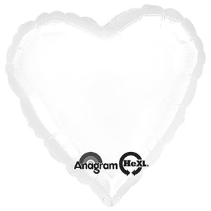 18″ HEART - METALLIC WHITE