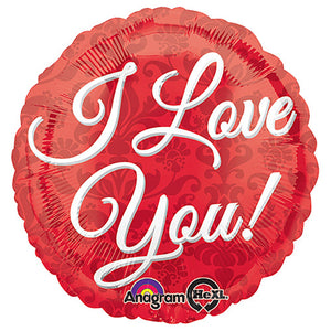 18″ I LOVE YOU RED DAMASK