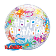 22″ BUBBLE - BIRTHDAY LIT CANDLES