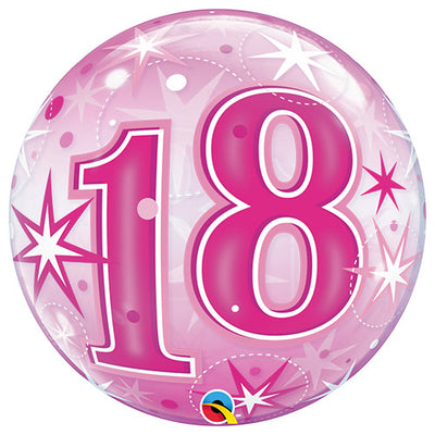 22″ BUBBLE - 18 PINK STARBURST SPARKLE