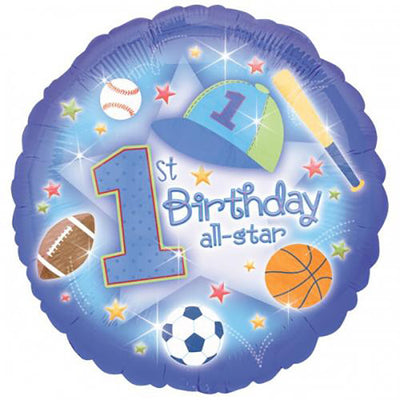 18″ FIRST BIRTHDAY ALL STAR SPORTS