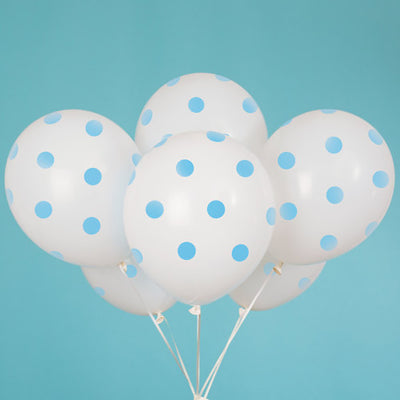 12″ WHITE WITH BLUE POLKA DOTS BALLOON (6 PK)